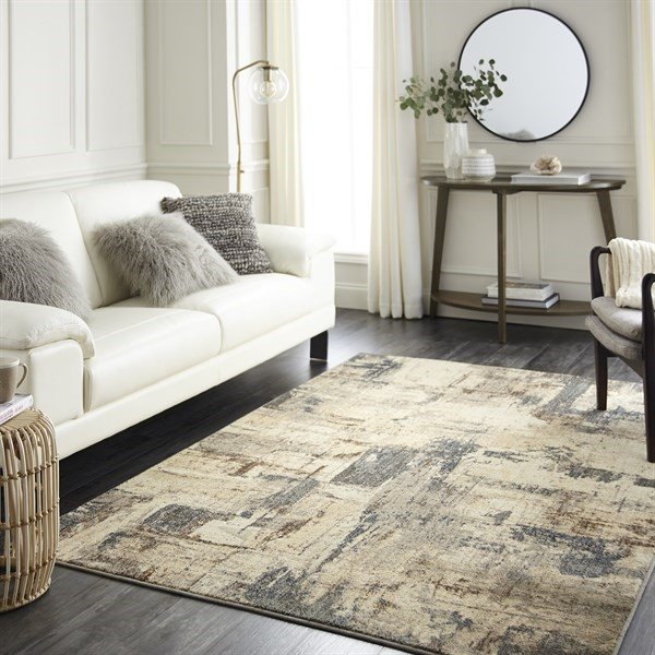Grey, Beige, Tan Abstract Area Rug