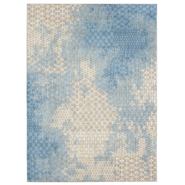 Aqua, Beige Contemporary / Modern Area Rug