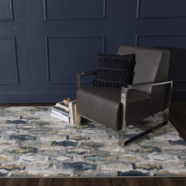 Cream, Grey, Teal (Mallard Green) Contemporary / Modern Area-Rugs