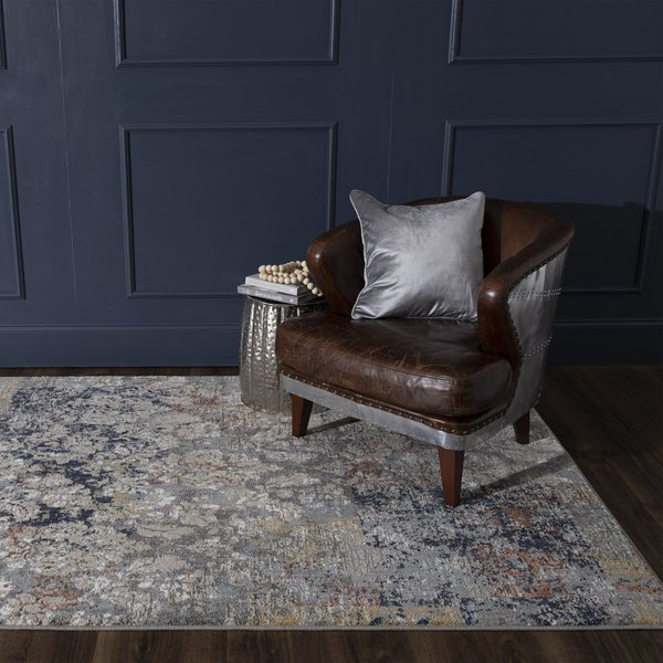 Grey, Taupe, Blue Vintage / Overdyed Area Rug
