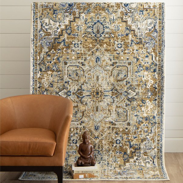 Brown, Blue, Ivory (Biscotti) Bohemian Area Rug