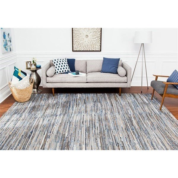 Tan, Blue (AMB1032) Contemporary / Modern Area Rug
