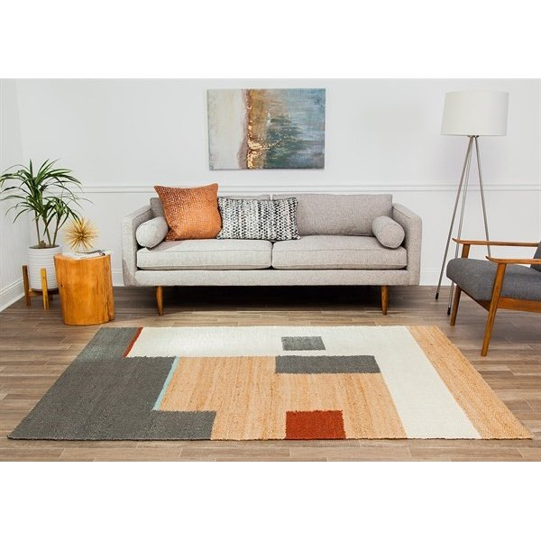 Tan, Grey, Red Contemporary / Modern Area Rug