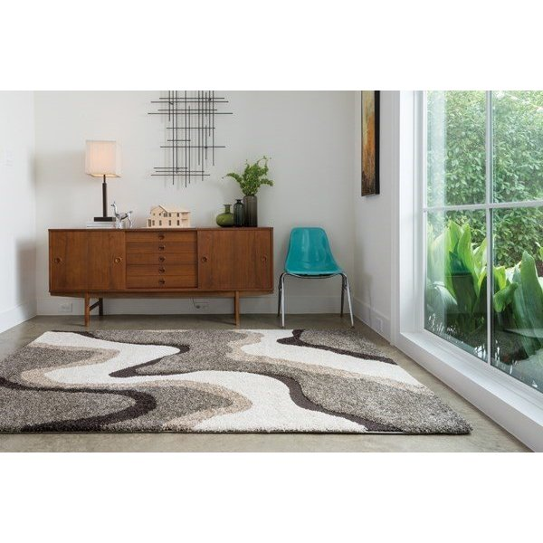 Grey, Charcoal, Ivory Contemporary / Modern Area Rug