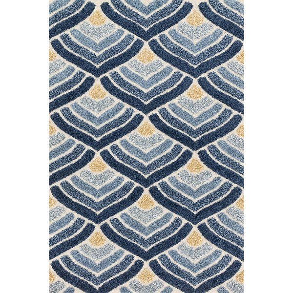 Ivory, Blue Contemporary / Modern Area Rug
