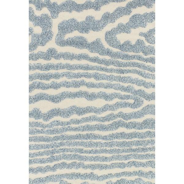 Ivory, Light Blue Contemporary / Modern Area Rug