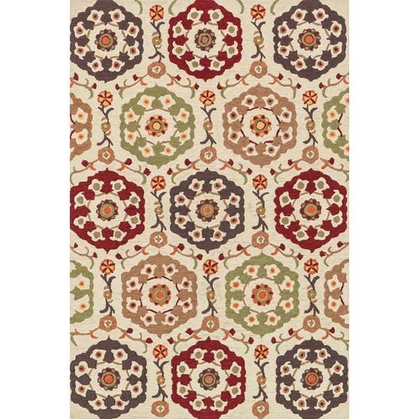 Beige, Red Traditional / Oriental Area Rug