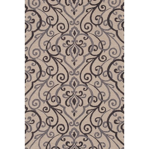 Ivory, Grey Contemporary / Modern Area Rug