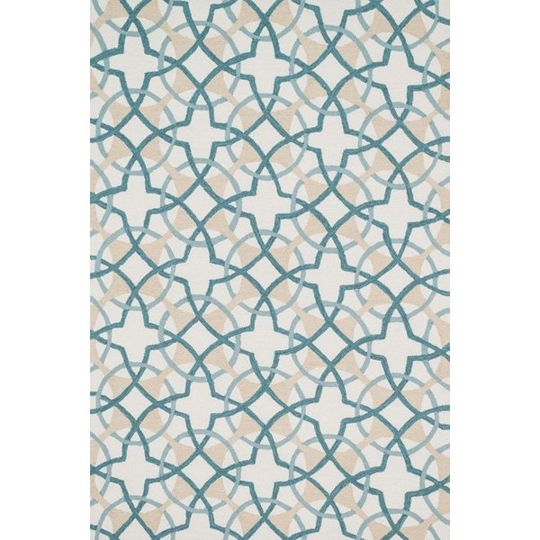 Ivory, Teal Contemporary / Modern Area Rug