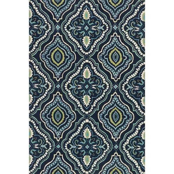 Navy, Aqua Contemporary / Modern Area Rug