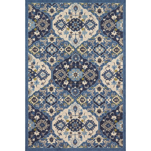 Blue, Ivory Contemporary / Modern Area Rug
