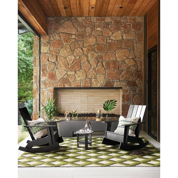 Green Trellis Geometric Area Rug