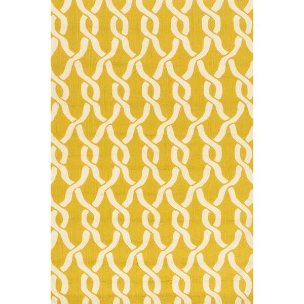 Goldenrod, Ivory Contemporary / Modern Area Rug