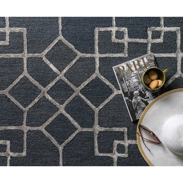 Charcoal, Silver Geometric Area Rug