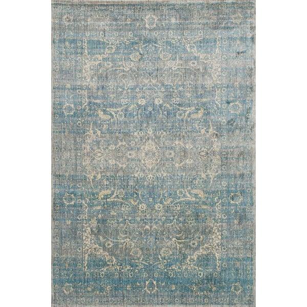 Light Blue, Mist Traditional / Oriental Area Rug