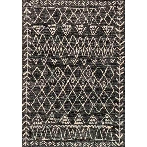Black, Ivory Moroccan Area Rug
