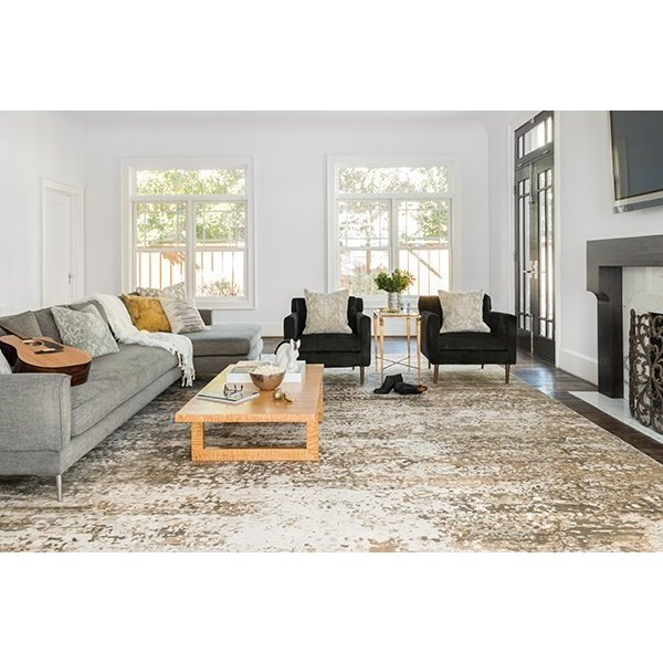 Ivory, Camel Contemporary / Modern Area Rug