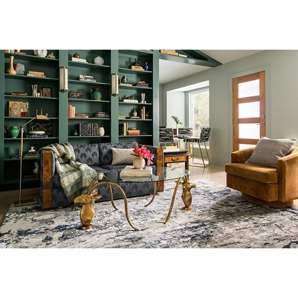 Grey, Navy Contemporary / Modern Area Rug