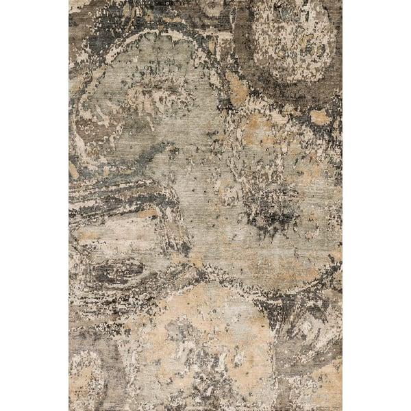Silver, Teal Contemporary / Modern Area Rug
