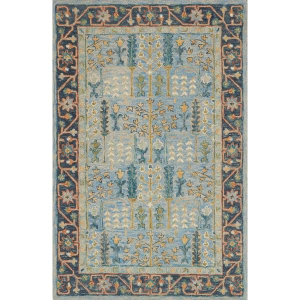 Light Blue, Dark Blue Traditional / Oriental Area Rug