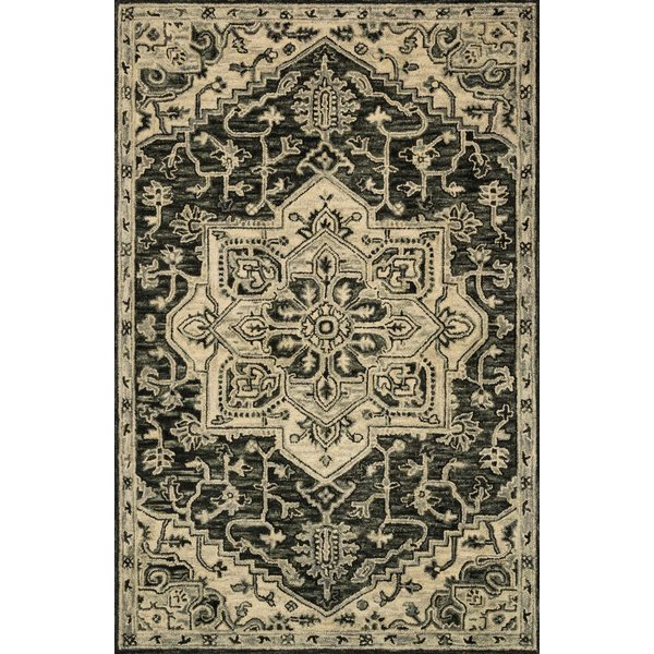 Charcoal, Light Grey Traditional / Oriental Area Rug