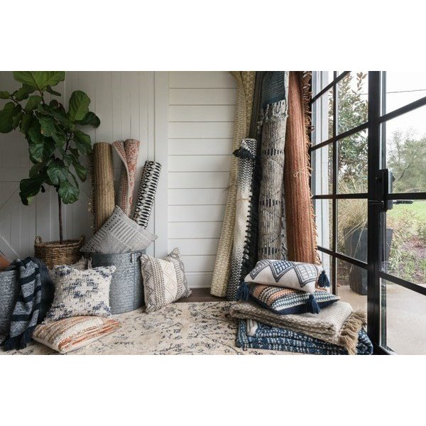 Grey, Ivory Moroccan pillow