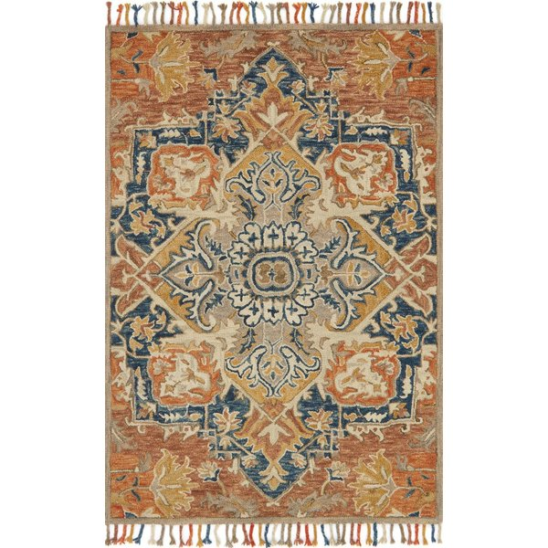 Rust, Blue Bohemian Area Rug