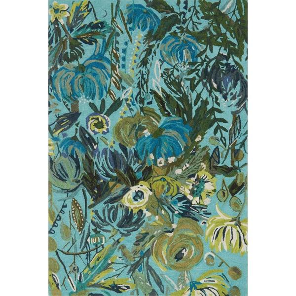 Aqua, Green Floral / Botanical Area Rug