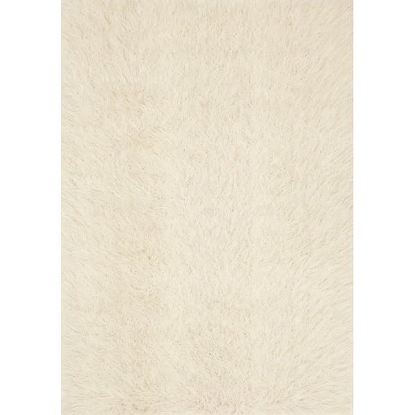 Ivory, Beige Shag Area Rug