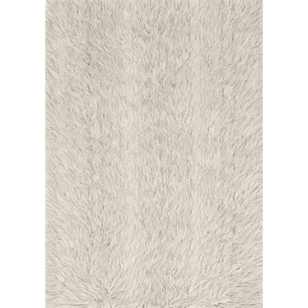 Ivory, Silver Shag Area Rug