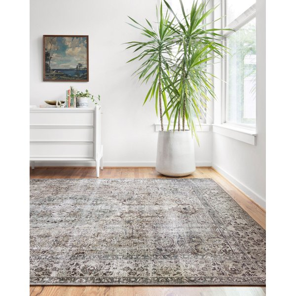 Taupe, Stone, Navy, Teal Vintage / Overdyed Area Rug