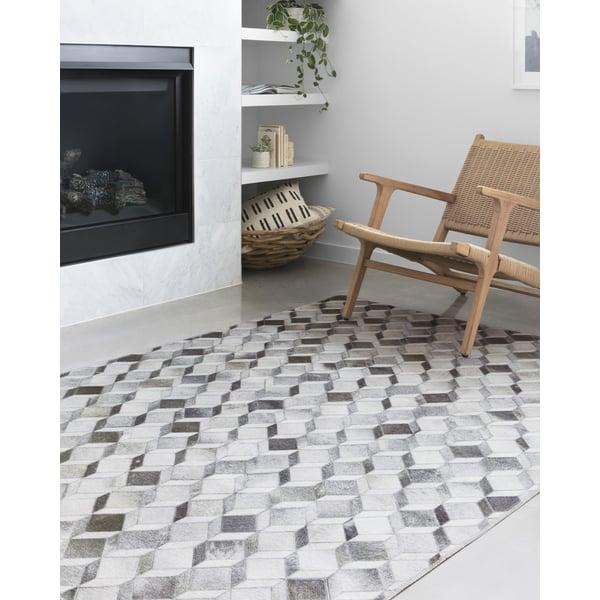Grey, Mocha Contemporary / Modern Area Rug