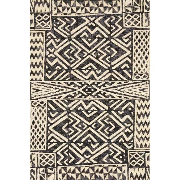 Ivory, Black Southwestern Area-Rugs