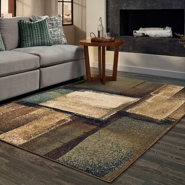 Beige, Brown, Gold Abstract Area-Rugs