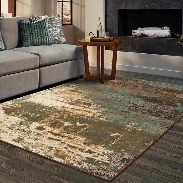 Seafoam, Gold, Beige Abstract Area-Rugs
