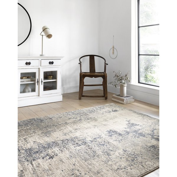 Natural, Denim Abstract Area Rug