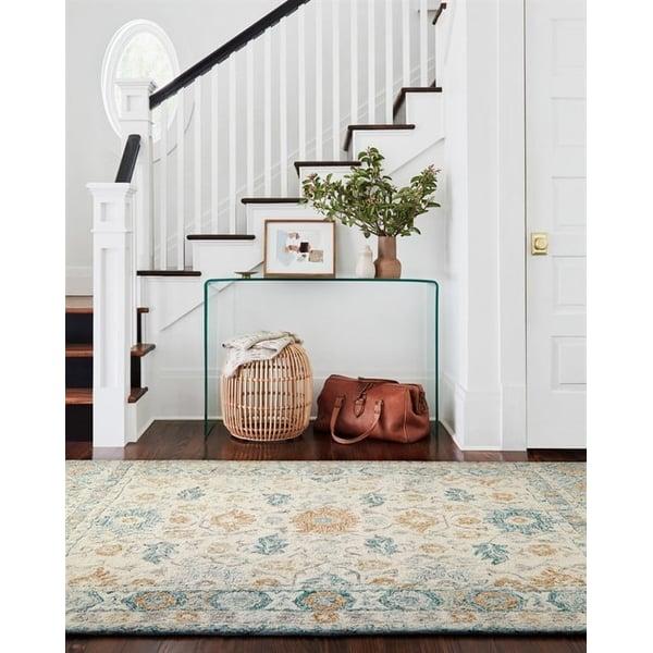 Ivory, Blue, Orange Contemporary / Modern Area-Rugs