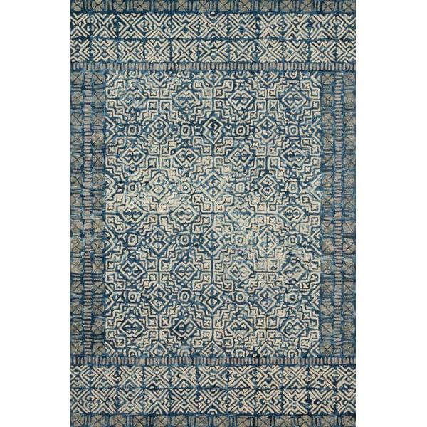 Denim, Ivory Contemporary / Modern Area-Rugs