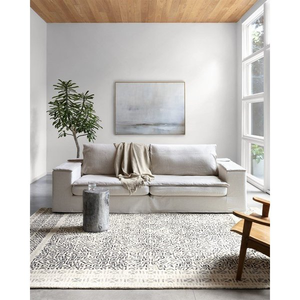 Ivory, Black Contemporary / Modern Area Rug
