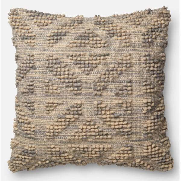 Grey, Beige Bohemian Pillow