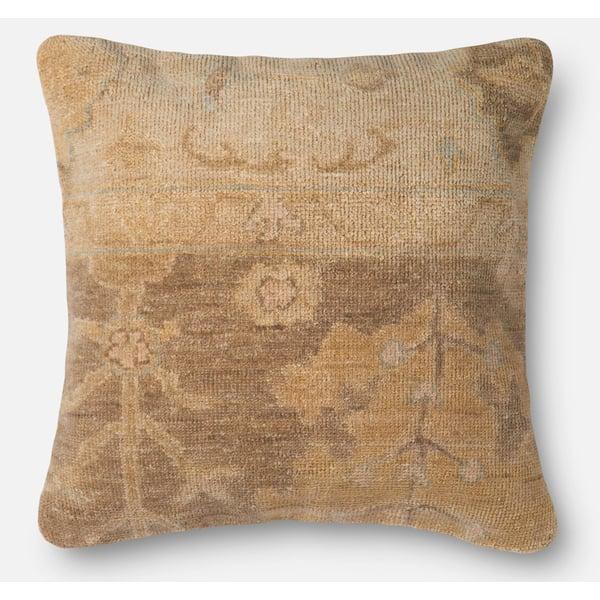 Brown, Beige Floral / Botanical pillow