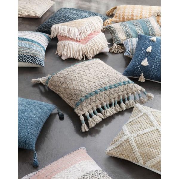 Ivory, Grey, Blush Bohemian Pillow