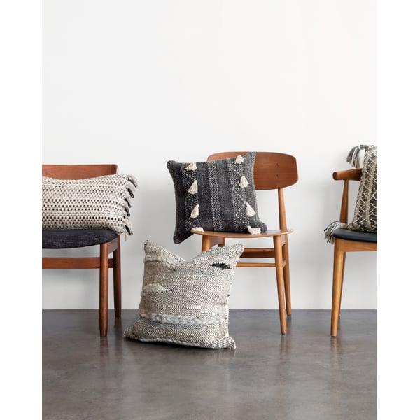 Natural, Black Contemporary / Modern Pillow