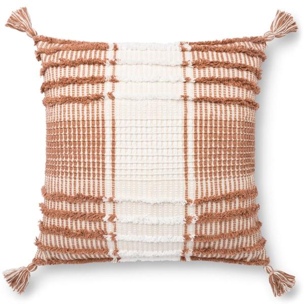 Terracotta, White Bohemian Pillow