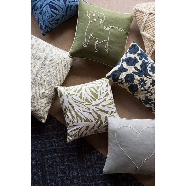 Green, Ivory Floral / Botanical Pillow
