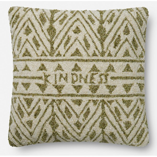 Green, Ivory Contemporary / Modern Pillow