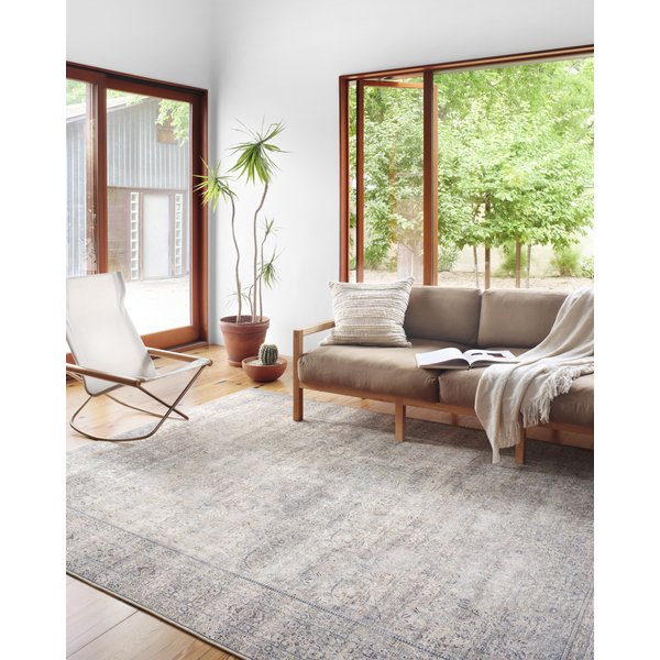 Silver, Charcoal Vintage / Overdyed Area Rug