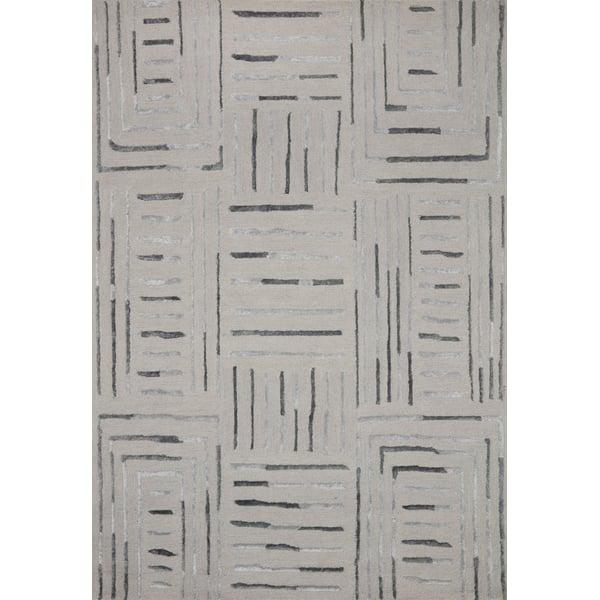 Silver, Slate Contemporary / Modern Area Rug