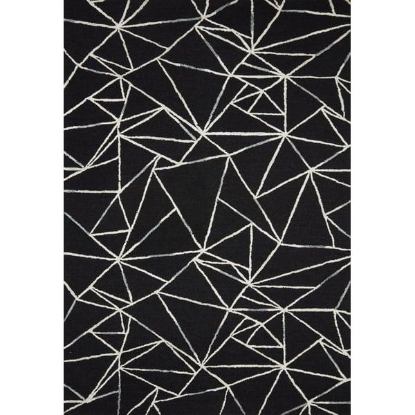 Black, Ivory Geometric Area Rug