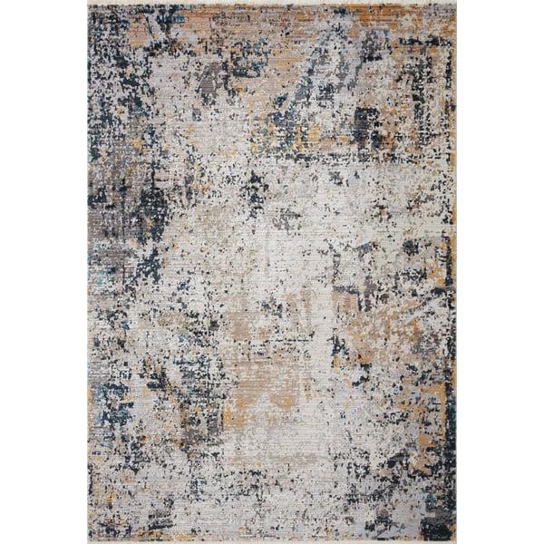 Silver, Beige, Grey Contemporary / Modern Area Rug